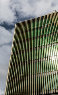 Photo by Dan Murphy - www.mandurphy.netClose-up of the exterior of the Burwood Corporate Centre