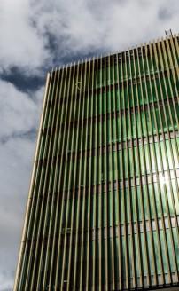 Photo by Dan Murphy - www.mandurphy.netClose-up of the exterior of the Burwood Corporate Centre